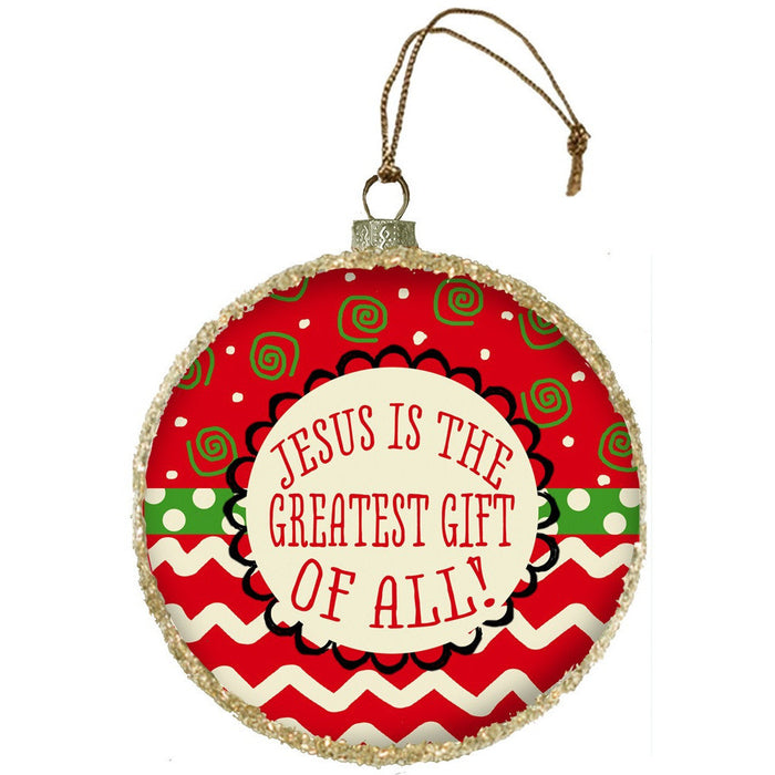 Jesus Is the Greatest Glass Ornament