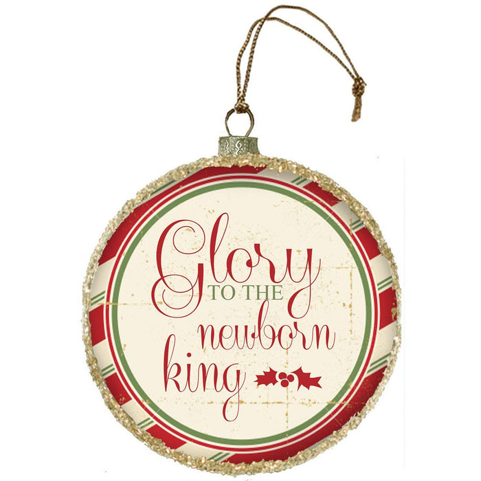 Glory To The Newborn Glass Ornament