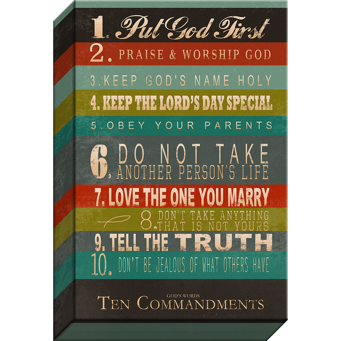 "10 Commandments  Gallery-wrapped Canvas ""Words of Life – Stripes of Love"""