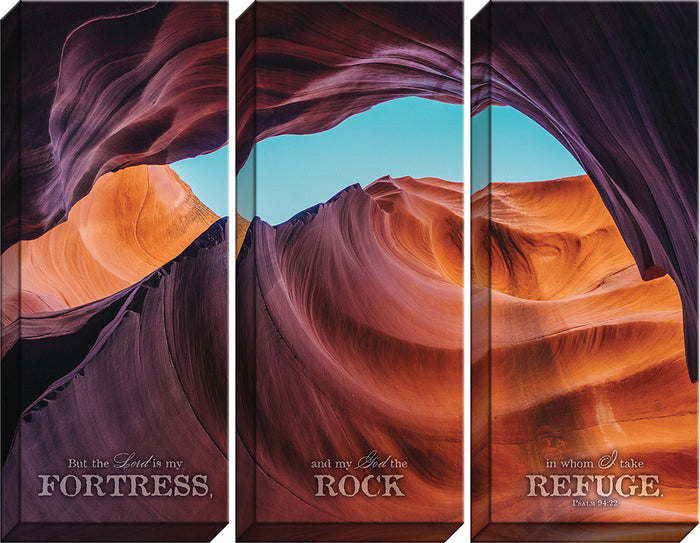 The Lord is my Fortress Triptych Canvas