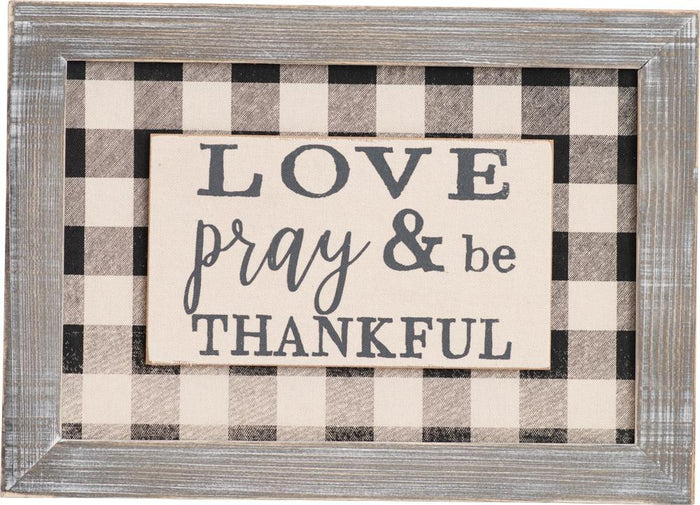Love Pray and Be Thankful Wall Plaque (20498)