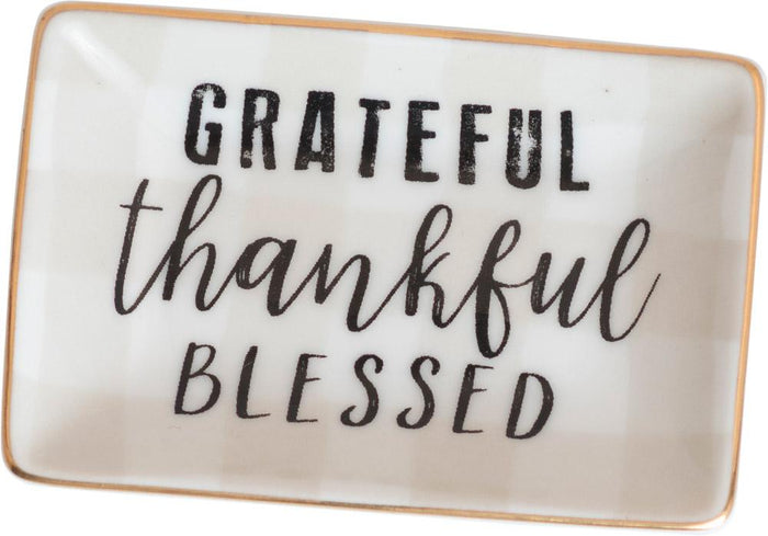 Grateful, Thankful Ceramic Trinket Tray - Carpentree
