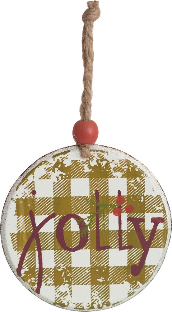 Jolly Plaid Round Metal Ornament - Carpentree