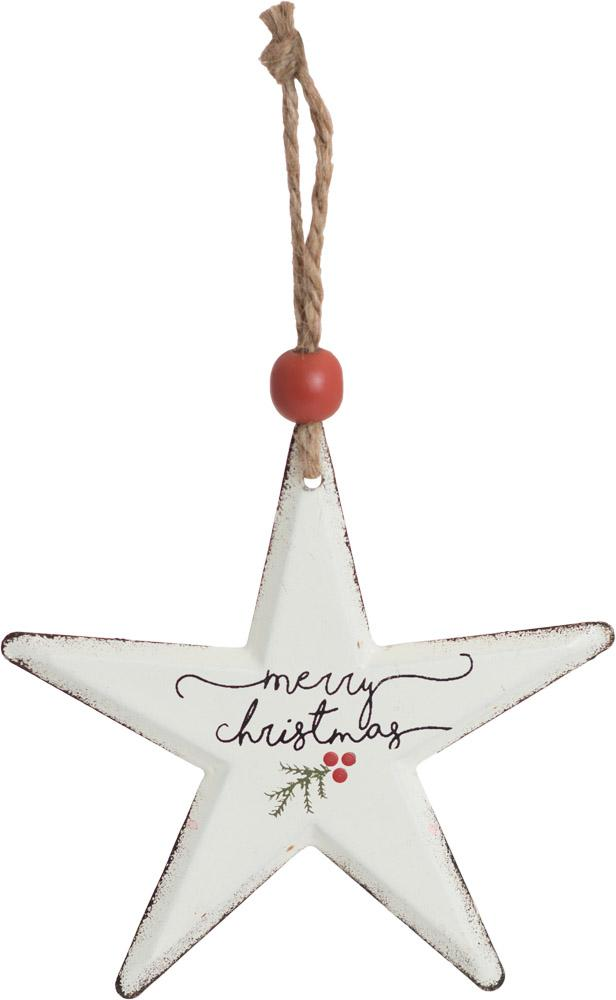 Merry Christmas Star Metal Ornament - Carpentree