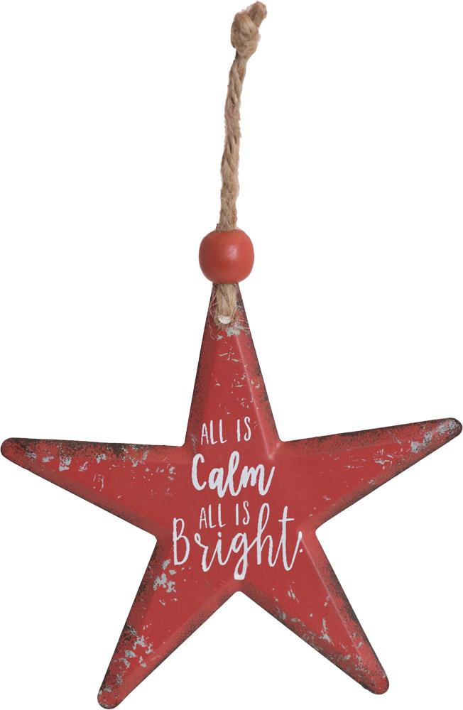 All Is Calm Star Metal Ornament - Carpentree