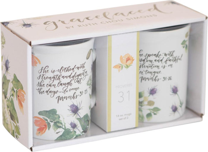 Proverbs 31 Ceramic Mug Set - GraceLaced For Carpentree - Carpentree