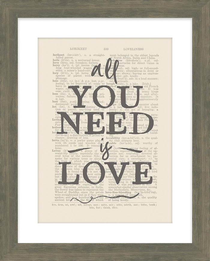 All You Need is Love Framed Art - Carpentree