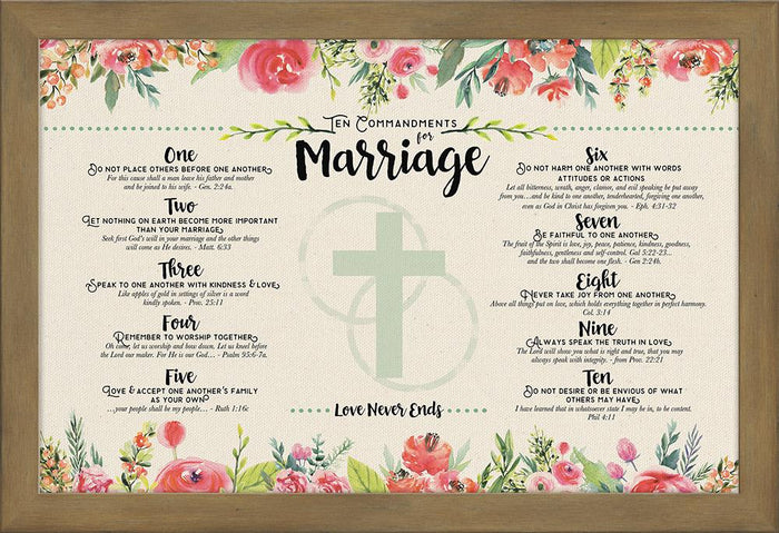 Ten Commandments for Marriage Framed Art - Carpentree