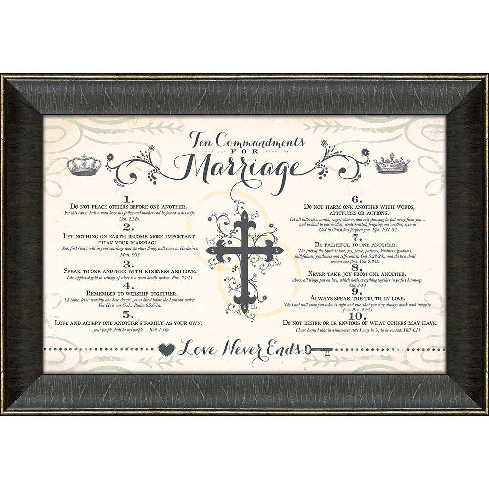 Ten Commandments For Marriage Framed Art Carpentree