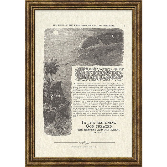 Genesis Antique Bible Page Framed Art