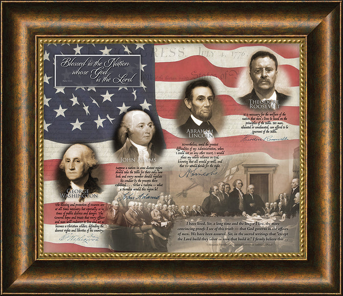 Blessed is the Nation Patriotic Quotes Framed Art