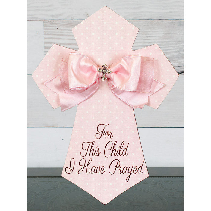 For This Child Wall Cross Pink with Bow and Jewel