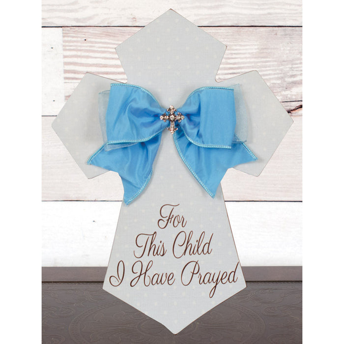 For This Child Wall Cross Blue with Bow and Jewel
