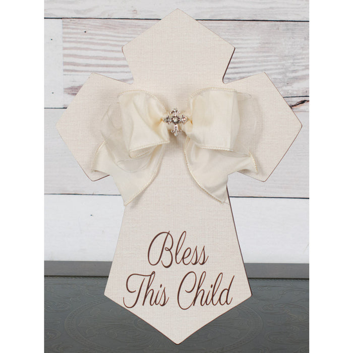 Blessed This Child Wall Cross Cream with Bow and Jewel