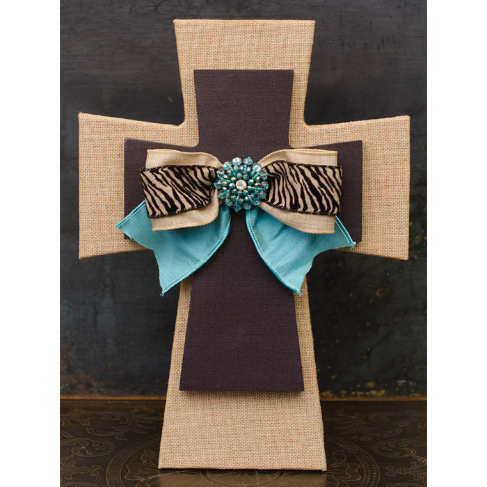 Layered Wall Cross Burlap and Black with Teal and Zebra Bow