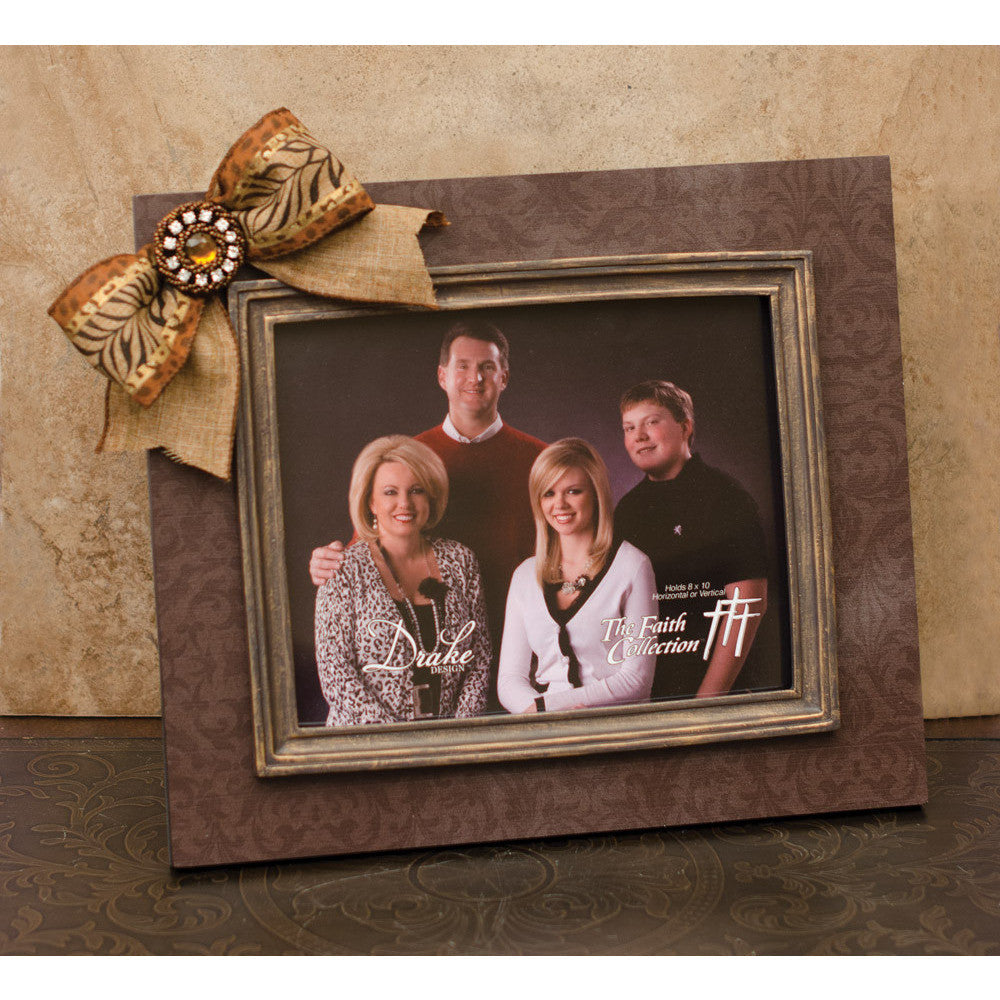 Frame Brown Damask with Moulding, Animal Print Bow and Jewel