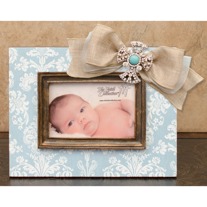 Frame Mint & Cream Damask