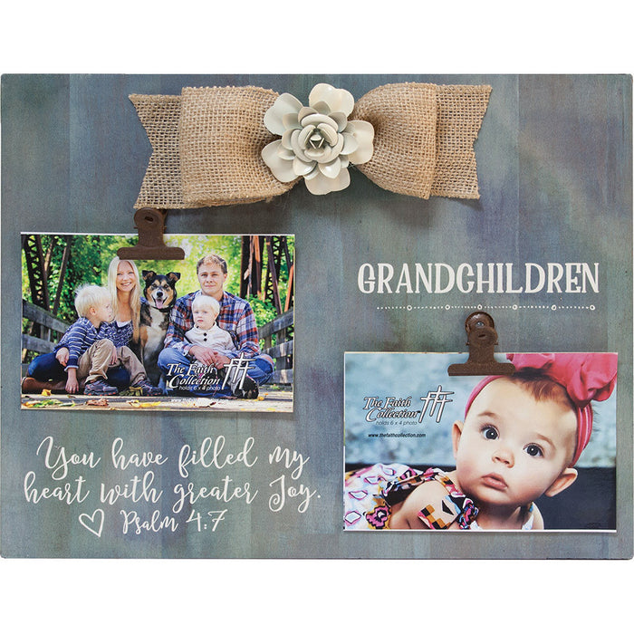 Grand Children Large Plaque With Clip and Bow
