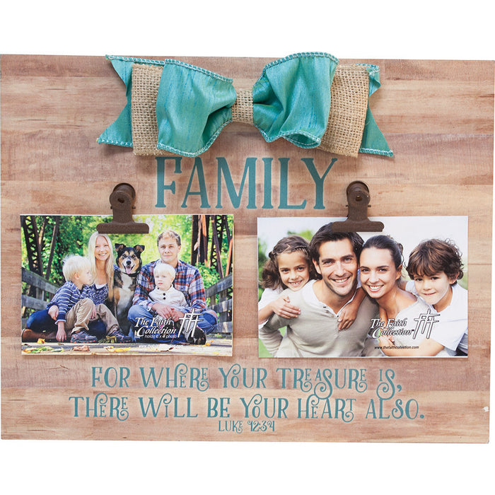 Family Large Plaque with Clip and Bow