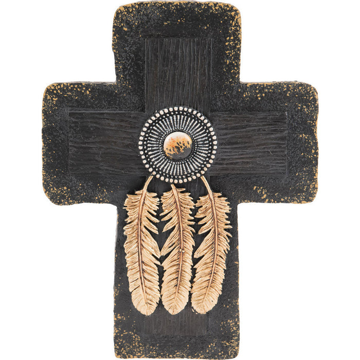 3 Feather Beaded Black & Gold Cross