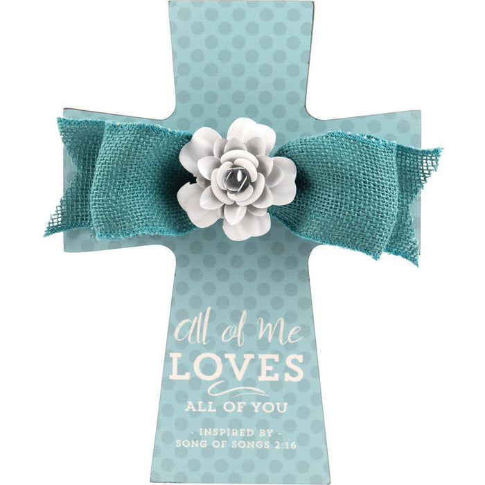 Wedding Cross with Teal Burlap Bow & Metal Flower