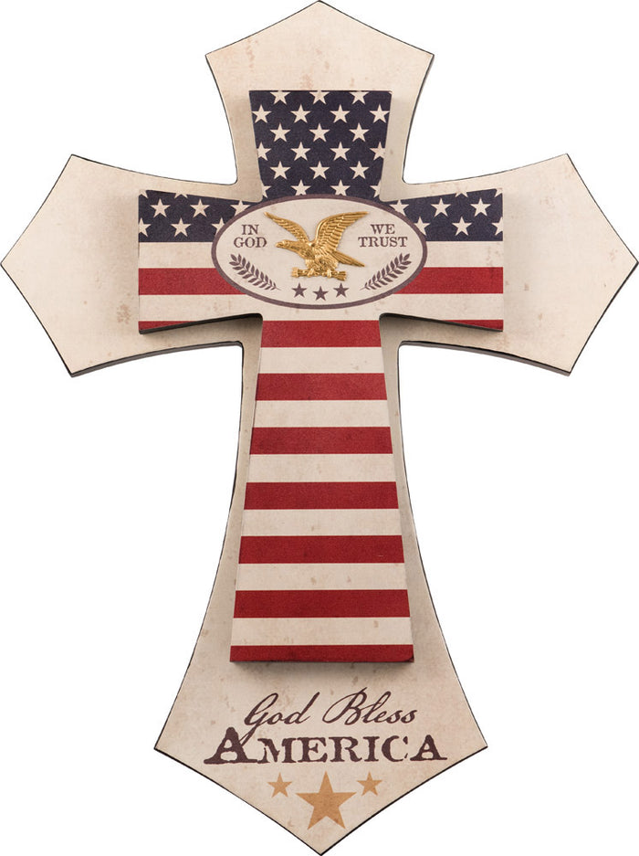 God Bless America Layered Wall Cross - Carpentree
