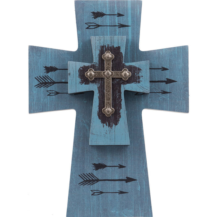 Layered Cross Blue Arrows with Silver Cross