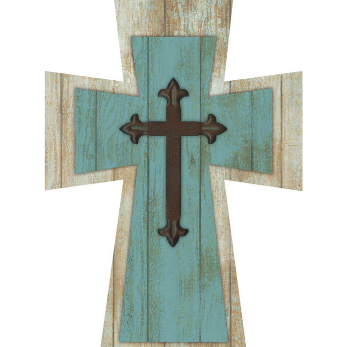 Layered Cross Farmhouse Teal with Metal Cross