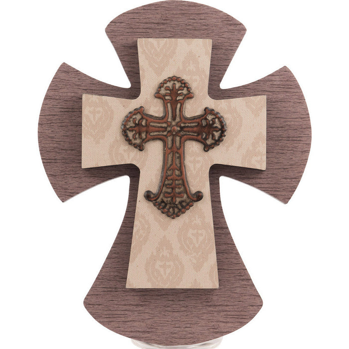 Layered Wall Cross Farmhouse Wood & Burlap