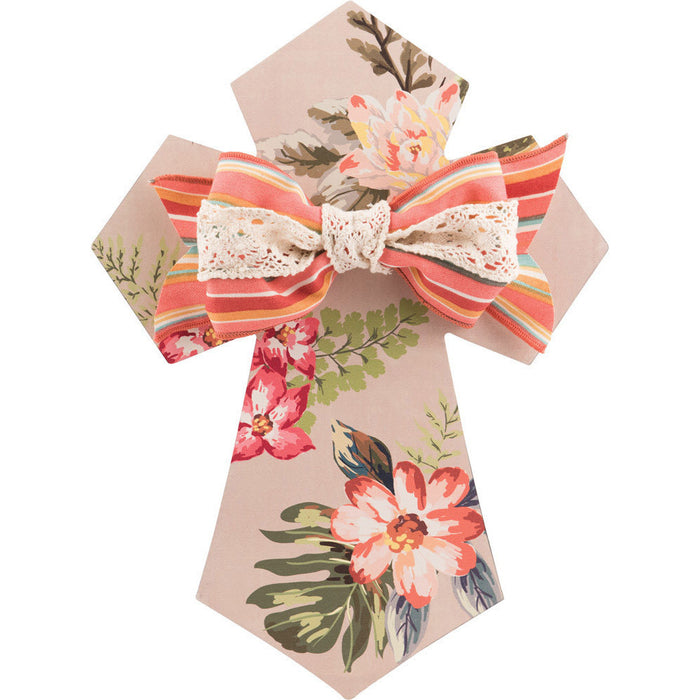 Wall Cross Taupe Floral with Bow