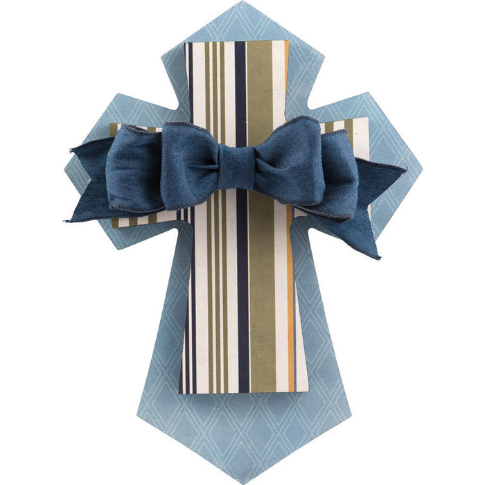 Layered Wall Cross Blue & Stripe with Bow