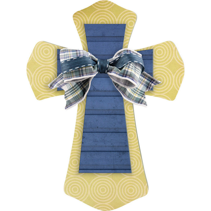 Layered Wall Cross Green Swirl & Blue with Bow