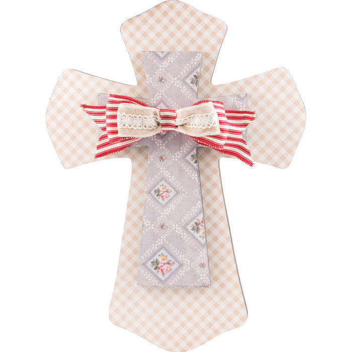 Layered Wall Cross Floral & Check with Bow