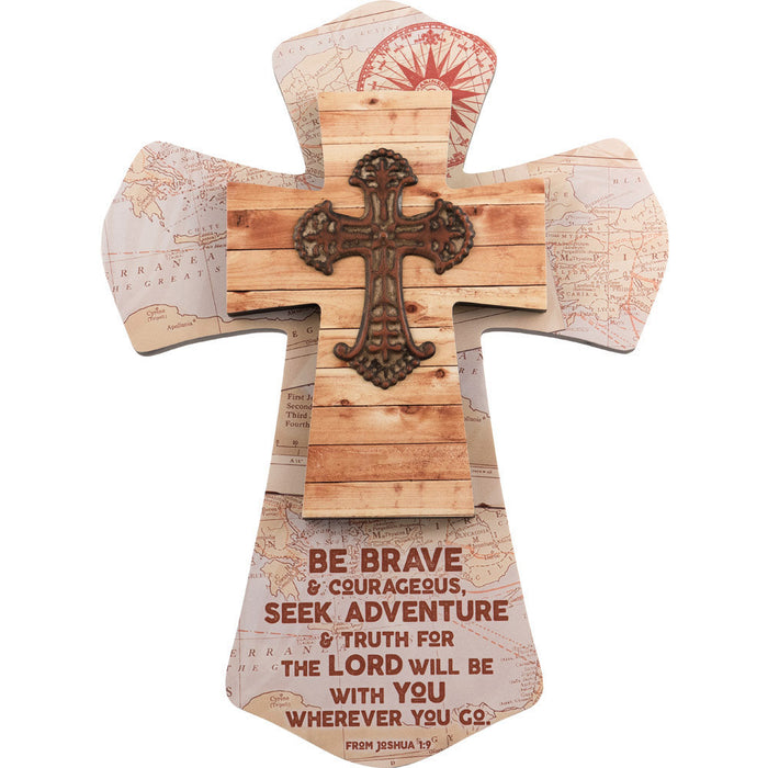 Be Brave & Courageous Layered Wall Cross Maps with Attached Metal Cross