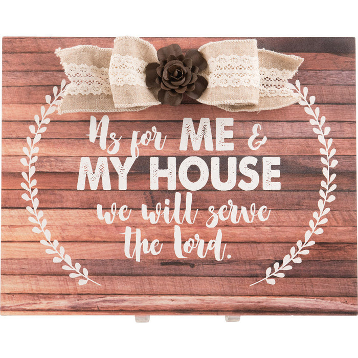 As For Me & My House Large Plaque with Bow