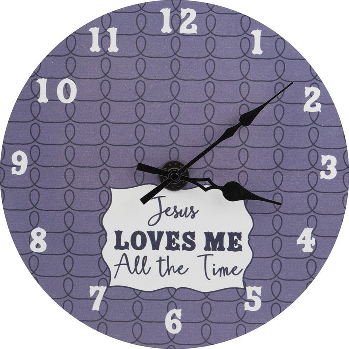 Jesus Loves Me All The Time Baby Boy Wall Clock