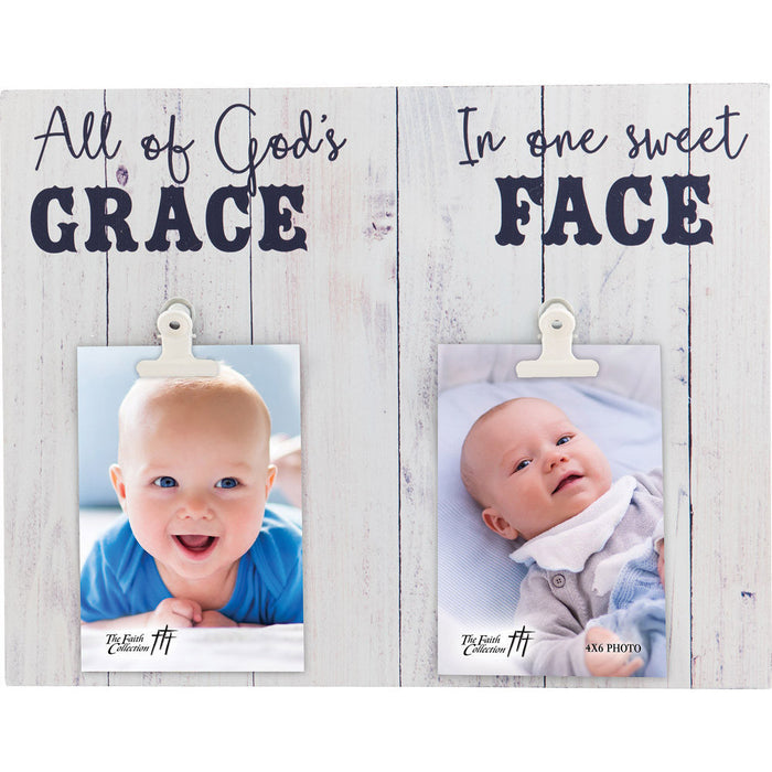 All Of God's Grace Baby Boy Large Plaque with 3 Clips