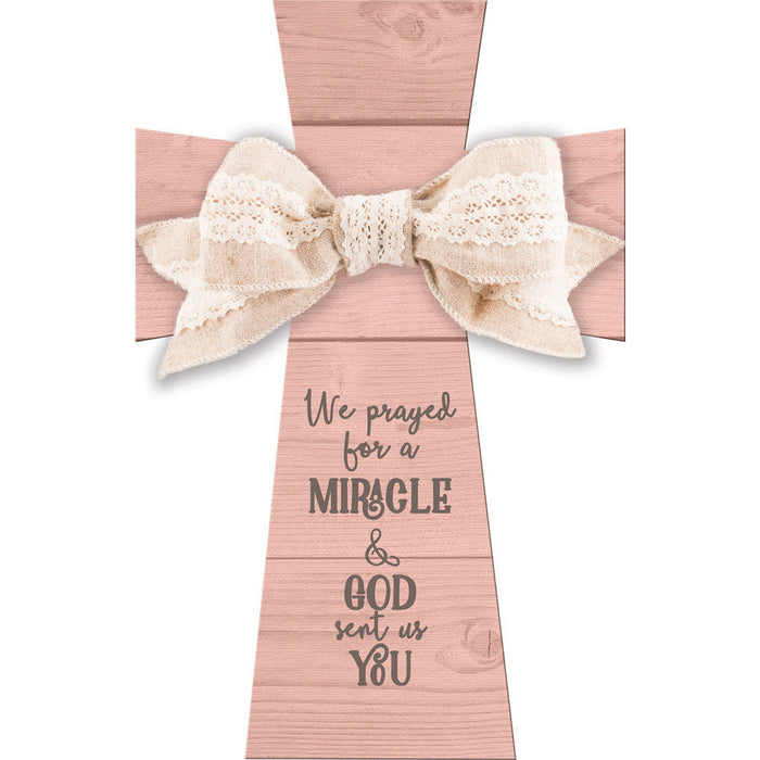 We Prayed Baby Girl Layered Cross