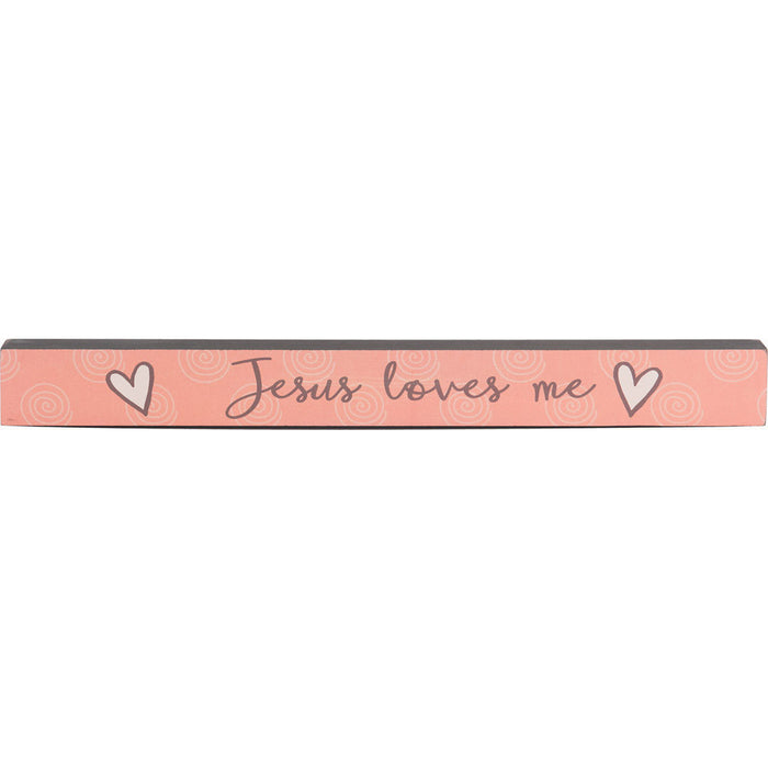 Jesus Loves Me Baby Girl Skinny Plaque