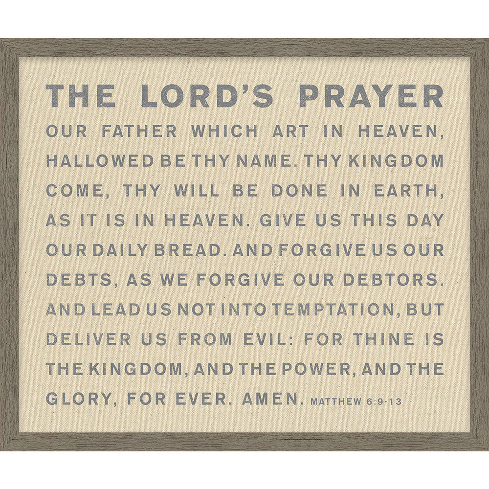 picture regarding Printable Copy of the Lord's Prayer called The Lords Prayer Framed Organic Canvas