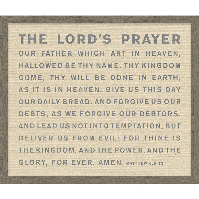 The Lord's Prayer Framed Natural Canvas