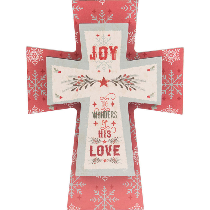 Joy To The World Layered Cross with Glitter