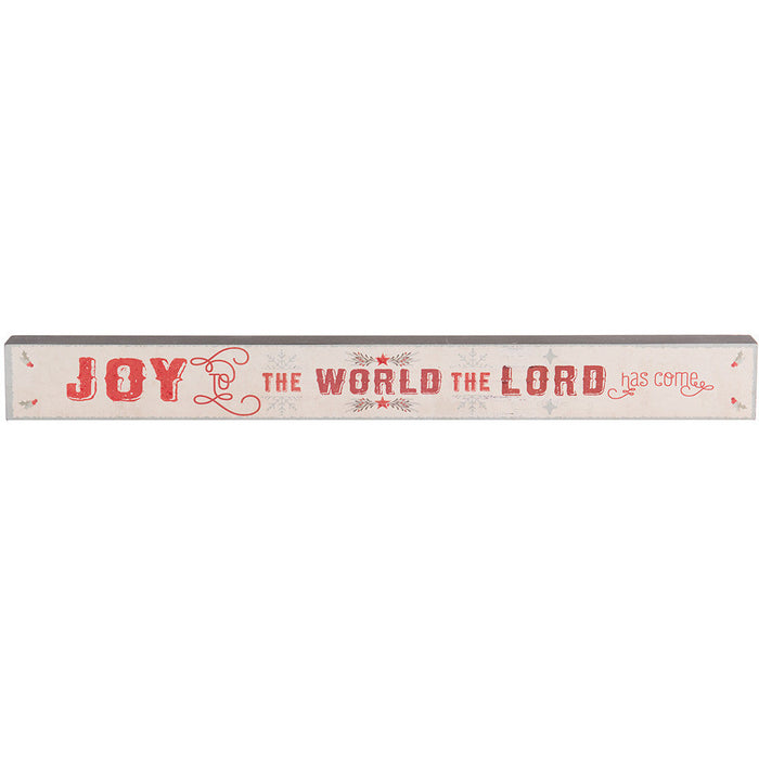 Joy To The World Skinny Plaque with Glitter