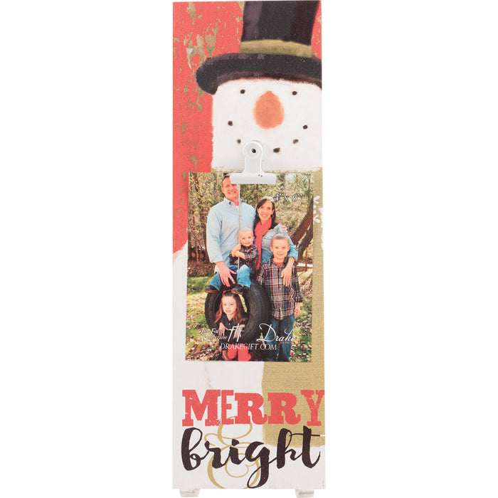 Snowman Merry & Bright Wall Plaque with Glitter and Clip