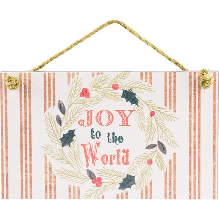 Joy To The World Hanging Wall Plaque with Glitter