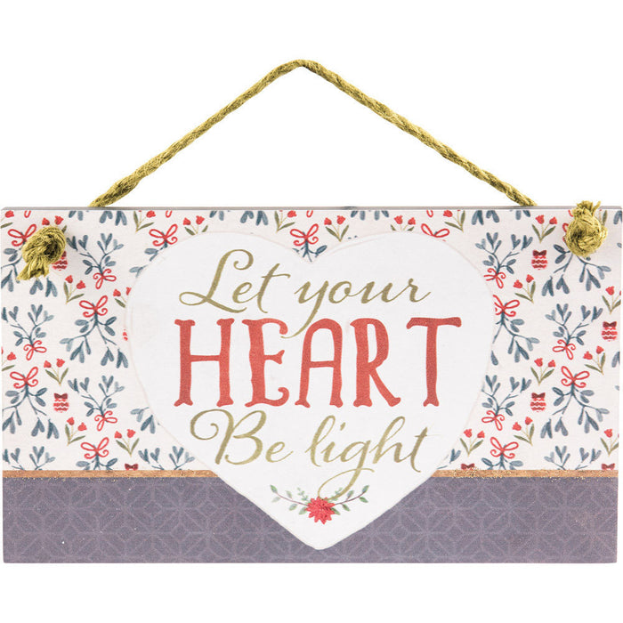 Let Your Heart Hanging Wall Plaque with Glitter