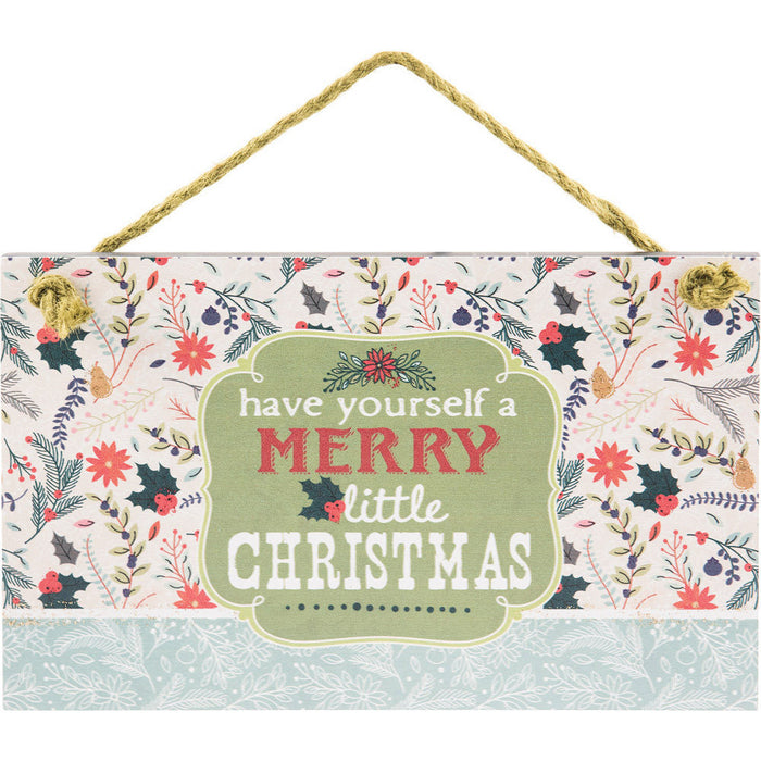 Have Yourself A Merry Hanging Wall Plaque with Glitter