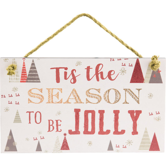 Tis The Season Hanging Wall Plaque with Glitter