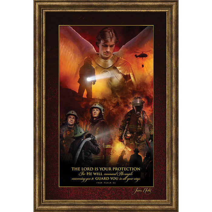Angel Of Protection For Firefighters, Angel Of Rescue Framed Art - Carpentree