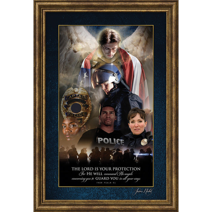 Angel Of Protection For Police Officers, Protector Of Justice Framed Art - Carpentree